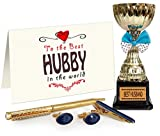Tied Ribbons Brass Trophy, Cufflinks, Tie pin and Pen Set with Greeting Card (1.5 cm x 0.99 cm x 1.5 cm, Golden)