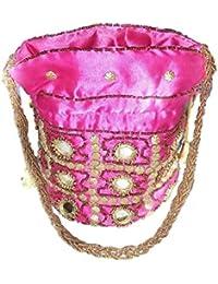 Simran Pink Satin Handmade Sequins Tote Bag For Women