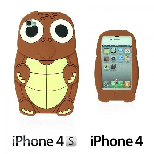 OBiDi - 3D Tortue Coque en Silicone / Housse pour Apple iPhone 4S / Apple iPhone 4 - Jaune avec 3 Film de Protection et Stylet Brun