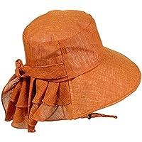 JK Home - Sombrero de pescador de verano con protección UV para mujer, de algodón, con correa para la barbilla, para deportes al aire libre, Camper, Mujer, color #E Caramelo, tamaño talla única