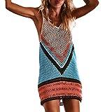 MCYs Damen handgefertigt häkeln Strand vertuschen Fischnetz Sarong Wrap Bikini handgemachte Kittel Bikini Cover Up Strand Minikleid Sonnenschutz kleid (S)