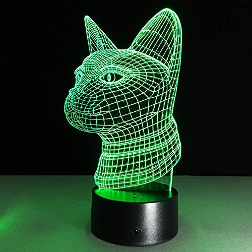 Schöne 7 Farben 3D Katze Nachtlicht 3D Illusion Tier Lampe Licht LED USB Acryl Vision Licht USB Touch Schreibtischlampe Für Wohnkultur han-8237 -