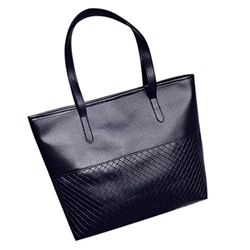 Longra Donne della borsa spalla del Tote Large Messenger Bag Nero