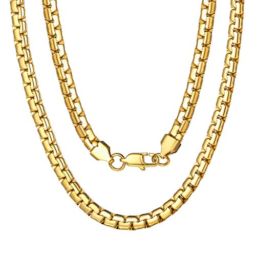 ChainsPro Herren Edelstahl Kette Rosé Gold Hip-Hop-Stil-Punk-Seil-Halskette, Karabinerverschluss, 6mm, Geschenke für Männer und Frauen, Edelstahl drehen Halskette (Seil-kette Rose Für Gold Männer)