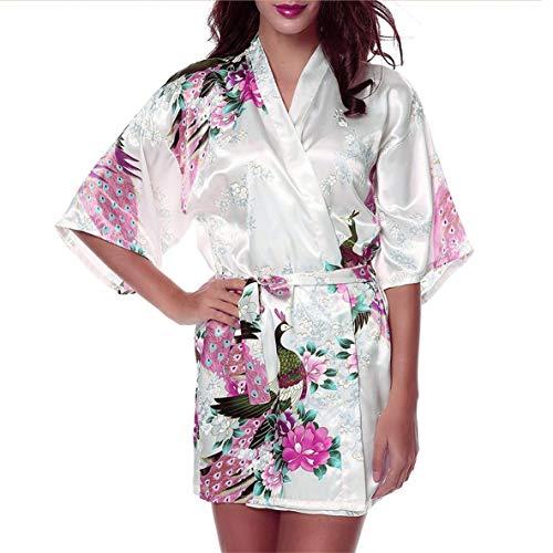 le Frauen Schlaf Kleid Pfau mit Blumenmuster Satin Robe Sexy Silk Sleepwear Dessous Sleep Schlafanzug ()