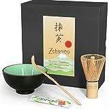 Matcha-Set 3-teilig, moos-grün, bestehend aus Matcha-schale, Matcha-löffel und Matcha-besen (Bambus) in Geschenkbox. Original Aricola®
