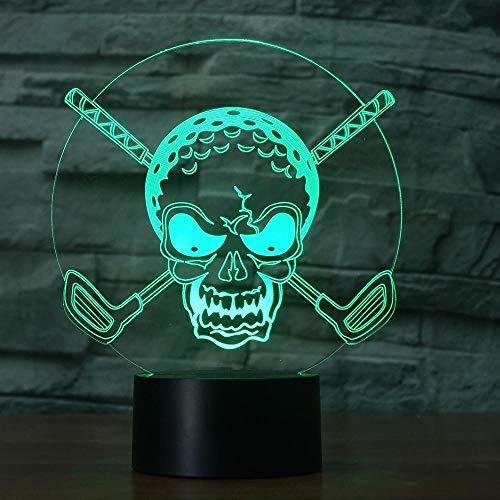 (Lixiaoyuzz 3D Nachtlampe 7 Farben Ändern Gradienten Awesome Golf Ball Schädel Nachtlicht 3D Led Schreibtisch Tischlampe Schlafzimmer Nachtbeleuchtung Beleuchtung Wohnkultur Geschenke)