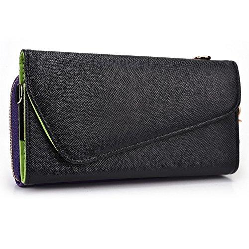 Kroo Pochette Portefeuille Pour Femme wrist-let pour Google Nexus 6étui pour téléphone portable Black and Purple Black and Purple