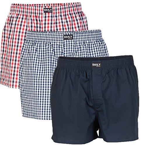Daily Underwear Herren Webboxer Boxershorts 3er Pack - S - 5XL - Übergrößen Farbkombi 99/3 - Kollektion 2017