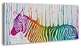 YS-Art 100% Handgemalt + Zertifikat | 120x60 cm Acryl Gemälde | Farben des Lebens | Bild auf Leinwand und Holzrahmen | Bilder Handarbeit | Wand Bild Unikat | 1-Teilig | Moderne Kunst (RR-155)