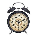 Dobess Metall Doppelglockenwecker mit Nachtlicht , ohne Ticken, 4 Zoll Geräuschlos Retro Analog Quarzwecker Glockenwecker ( Arabische Ziffern, Schwarz )