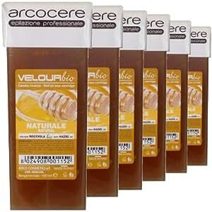 Natural Honey Warm Soft Wax, 100ml roller, roll-on wax cartridge (6 x100ml wax cartridge)
