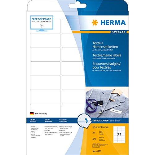 Herma 4411 Namensetiketten ablösbar (63,5 x 29,6 mm, weiß) 675 Stück, 25 Blatt, selbstklebende Textil-Namensschilder bedruckbar