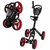 Caddymatic Golf Quad 4-Wheel Folding Golf Pull/Push Trolley Black/Red