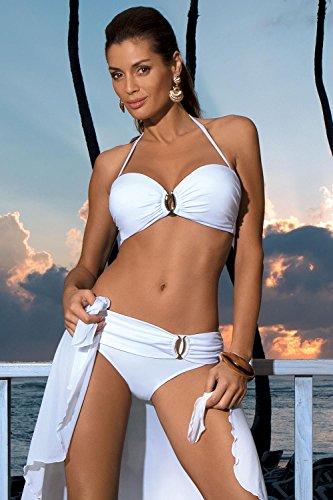 Marko Salma M-254 trendiger Bikini-Set, abnehmbarer Träger, Top Qualität, Made in EU Weiß