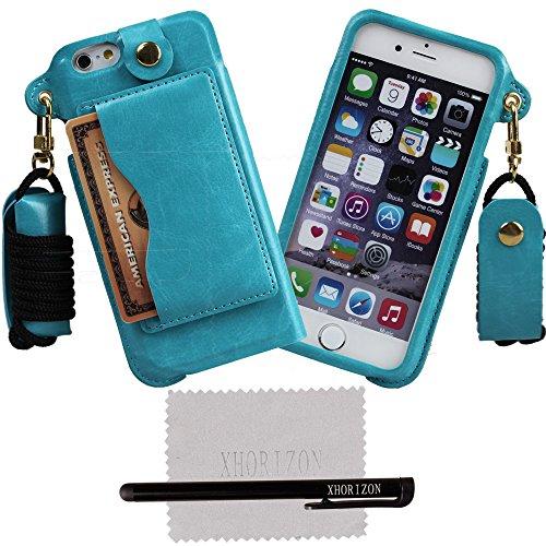 xhorizon® Bändsel PU LederTasche Kartenhalter Stand Case Hülle für 4.7 Inch iPhone 6 Blau