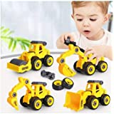 eErlik Pull Back Construction Vehicles Set, 4 Pack DIY Take Apart Toys Construction Trucks with 1 Screwdriver Tools, Kids Bui