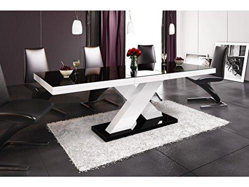 H MEUBLE Table A Manger Design Extensible 160÷210 CM X P : 89 CM X H: 75 CM - Noir/Blanc