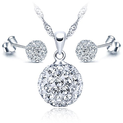 Pendientes mujer, Juego de Plata de Ley, Conjuntos Joyeria Mujer, compuesto por un Juego de Pendientes y Collar, el regalo perfecto para toda la vida.