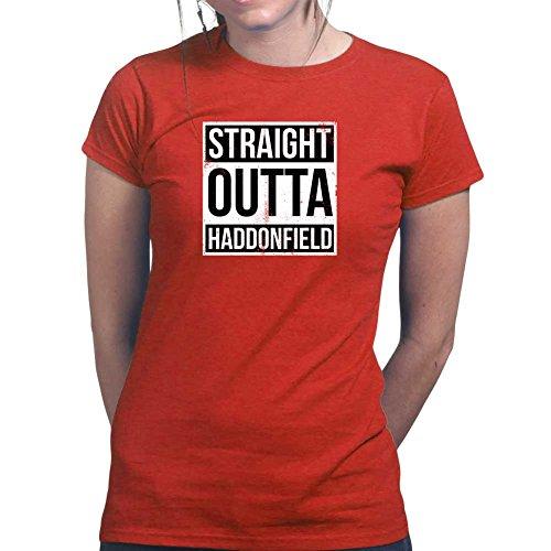 Womens Straight Outta Haddonfield Halloween Ladies T Shirt (Tee, Top) Red