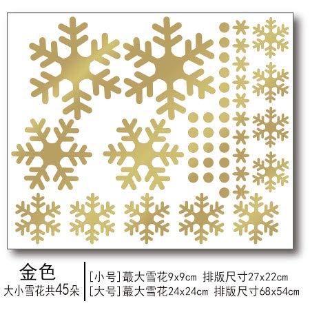 HAPPYLR Weihnachten Glück Baum Glas Aufkleber Jahr Fenster Aufkleber 2019 Weihnachtsbaum festlichen Urlaub Dekoration Nahtlose Aufkleber, Schneeflocke Set (Gold), groß