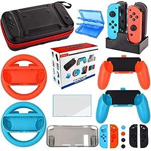 Nintendo Switch Zubehör Set – Tragetasche Hülle Displayschutzfolie für Nintendo Switch konsole – Tasche für Spiele – Lenkrad Griff Silikon Schutzhülle Ladestation für Joy-Con Controller (17 in 1)