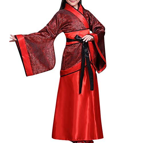 Kleid Accessoires - Mädchen Antike Chinesisch Braut Kostüm Anzug National Traditionell Hanfu Cosplay Bühne Vorstellungen Tanzen Kleidung (UK 140=Etikette 150) ()
