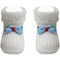 Bianchi Sockmaker In Italy Since 1932 - Booties Newborn White With Little Bows