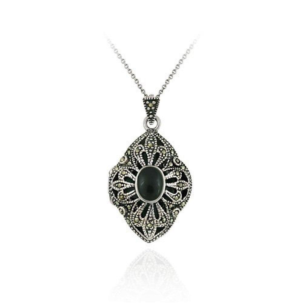 Sterling Silver Genuine Onyx & Marcasite Diamond Shaped Locket