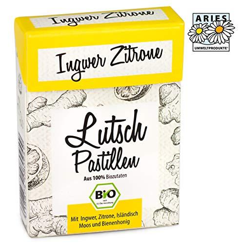 ARIES BIO Ingwer-Zitrone Lutschpastillen - Halsbonbons mit Isländisch Moos Extrakt, Bienenhonig und Bio Ingweröl- 30g (Bio-bienenhonig)