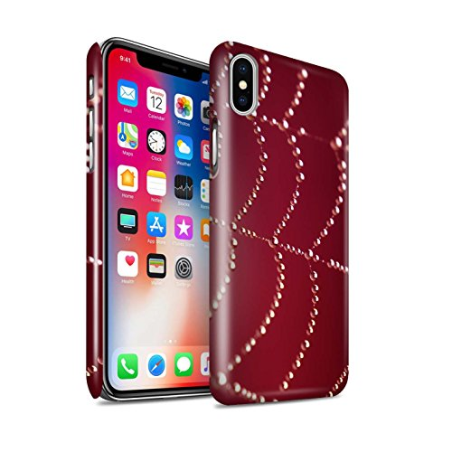 STUFF4 Glanz Snap-On Hülle / Case für Apple iPhone X/10 / Rot Muster / Spinnen Netz Perlen Kollektion Rot