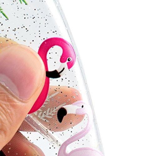 iphone SE Hülle,iphone 5 Case, iphone 5S Schutzhülle Case Silikon, Cozy Hut Kunst Malerei Muster Ultra Slim Transparent/Schützend/Weich/Ultra Hybrid/Schock Absorption/Kratzfest Backcover Handyhülle TP Roter und weißer Flamingo