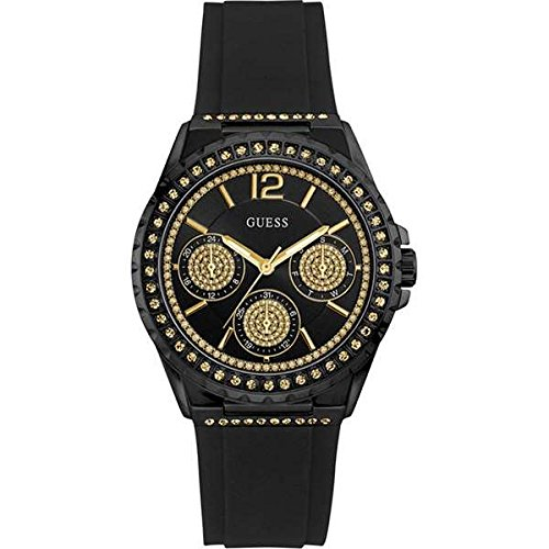 guess womens chronograph quartz watch with silicone strap w0846l1