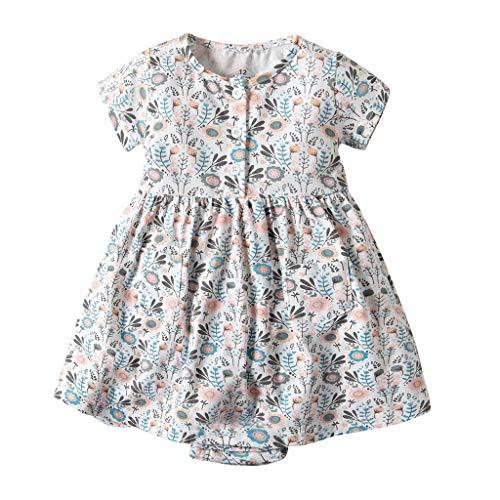 IZHH Kinder Kleider, Kleinkind Kurzarm Kleider Baby Mädchen Kurzarm Blumenkleid Princess Romper Dresses Kleidung 6M-24M Blumendruckkleid(Grün,9M)