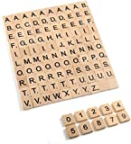 Wooden Scrabble Tiles - Complete set of 100 tiles BLACK LETTERS & A FREE SET NUMBERS 0-9 FOR CRAFTS UK