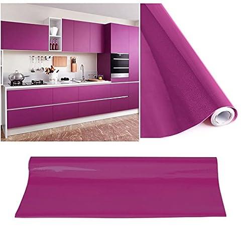 KINLO® Tapeten küche Lila 61x500cm aus hochwertigem PVC klebefolie aufkleber küchenschränke Wasserfest Möbelfolie für schrank selbstklebende folie Küchenschrank küchenfolie Dekofolie selbstklebende folie küche 2 Jahren (Kühlschrank Lila)
