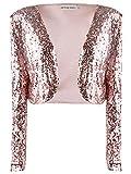 Anna-Kaci, glitter paillettes maniche lunghe Blazers bolero Coprispalle ritagliata giacche Rose Gold Large