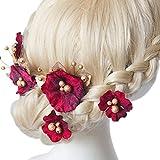 Accesoires Cheveux (2pc) Epingle à cheveux (3pc) en forme de Fleur de Tissu avec Perle Feuille pour Coiffure Chignon de Mariage Soirée Anniversaire FiançaillesCadeau-avec une Boîte -NOBLE HERA®-Rouge Vineux...
