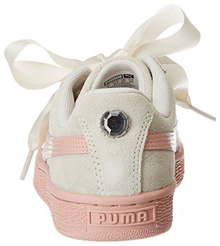 Puma Girls  Suede Heart Jewel PS Trainers  Whisper White-Peach Beige  13 UK 13 UK