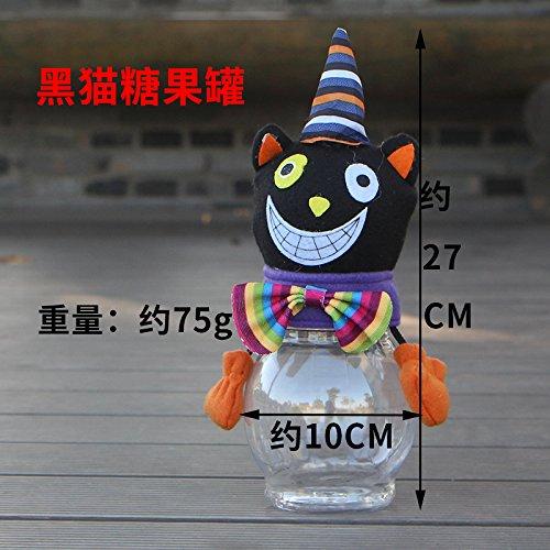 SunBai Halloween Dekoration Zubehör Cartoon Kinder süße Topf transparenten Kunststoff schwarze Katze Kürbis süße Topf Halloween Verzierungen, schwarze Katze süße Pot (Halloween-verzierung Katze Schwarze)