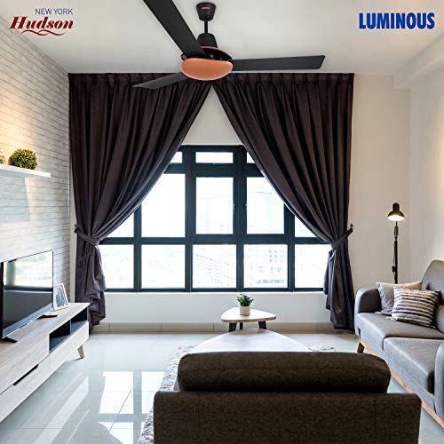 Luminous New York Hudson 1200 MM Ceiling Fan (Midnight Black, Pack of 2)