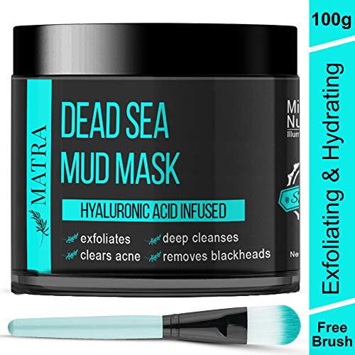 Matra Dead Sea Mud Mask For Face, Acne & Blackheads - Hyaluronic Acid Infused - Facial Exfoliator, Cleanser, Acne Reduction Treatment, Gray, 100 g with Free Face Mask Brush