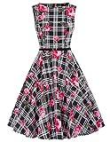 1950s Vintage Festliches Kleid Knielang Retro Damen Sommerkleid Knielang Swing Kleid L CL6086-65