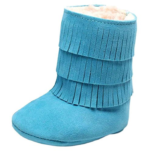 Schön Babyschuhe Schneestiefel,Amcool Baby Quasten Weiche Sohle Winter Warme Schuhe Lauflernschuhe Kleinkind Schuhe Stiefel Baby Prewalker Krippe Schuhe (6-9 Monatlich, Blau) Braun