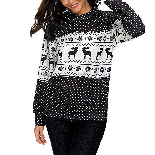 tohole Damen Weihnachts Print Langarm Sweatshirt Pullover mit langen Ärmeln Elegant Weihnachten Pullover Kleid mit Kapuze Herbst Winter Warm Sweatshirt Lang Hoodie Rentier Drucken -