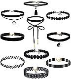 feifan 10 Stück Choker Halsketten Set Gummi Halsband Tattoo-Kette Schmuck-Sets Damen-Schmuck Velvet Halskette Tattoo Halsband Schwarz