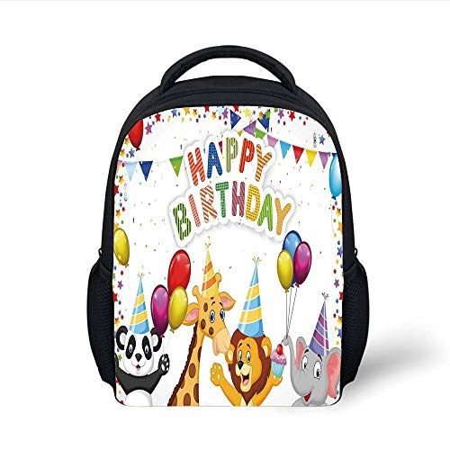 Kids School Backpack Birthday Decorations for Kids,Cartoon Safari Animals at a Party with Flags Balloons Image,Multicolor Plain Bookbag Travel Daypack - Safari Trolley