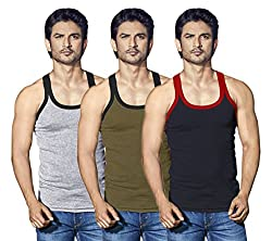 LUX Cozi Men Xylo Assorted Pack Of 3 Vests (Medium)