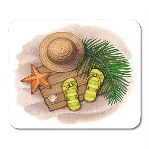 Tappetini per mouse Aloha Beach Summer Holiday Cappello in paglia Infradito Conchiglie e stelle marine Tropical Ashore Tappetino per mouse per notebook, Computer desktop Tappetini per mouse, Articoli