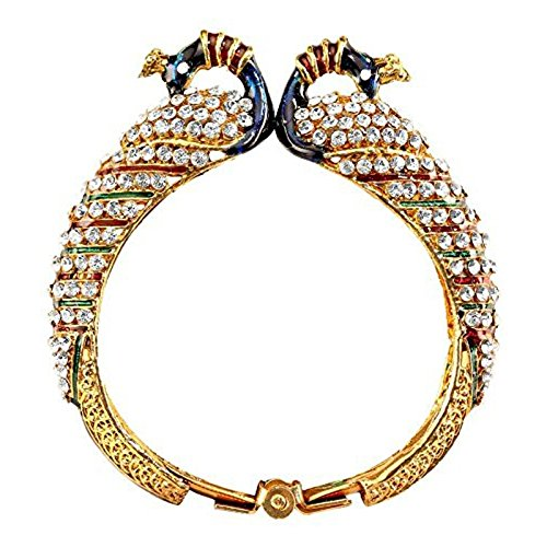 Best Valentine Gift Sitashi Artificial Jewellery Valentine Collection Trendy Clear American Diamond Gold Plated Peacock Bangle/Kadaa for Women  available at amazon for Rs.199